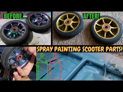 SPRAY PAINTING SCOOTER PARTS!!
