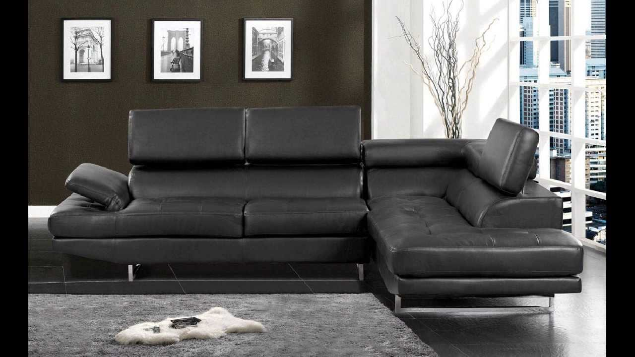 kemi modern style black bonded leather sectional sofa with adjustableheadrests  youtube. kemi modern style black bonded leather sectional sofa with