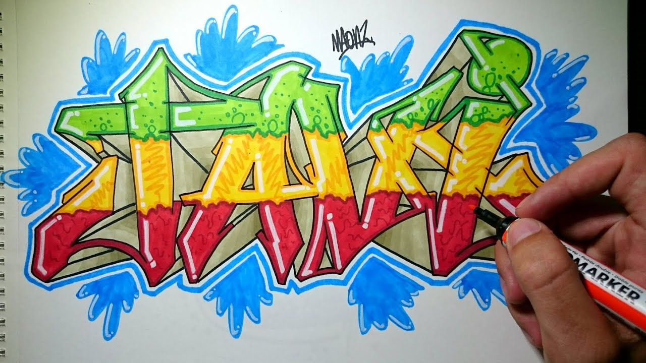 How To Draw Graffiti On Paper Weed Colours Youtube