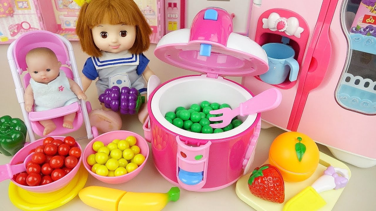Baby doll cooker and fruit candy cooking play baby Doli house