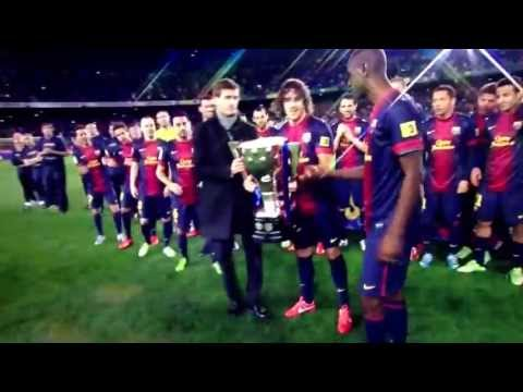 Alex Song and the La Liga Trophy Barcelona 2013 champions
