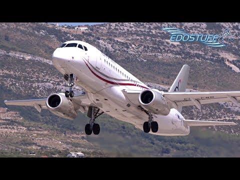 Close-up! Sukhoi Superjet SSJ-100 Takeoff - Split Airport LDSP/SPU
