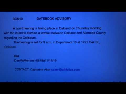 Oakland City Council Lawsuit vs Alameda County, A's Dismissed This Morning 11-14-2020