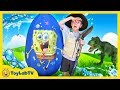 Giant Mystery Egg! T-Rex Dinosaur Surprise Toy & Family Fun Outdoor Challenge with Toys for Kids