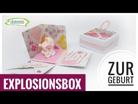 Kleine Explosionsbox ca. 5 cm zur Geburt DIY IDEE mit Papier  [Tutorial | deutsch]