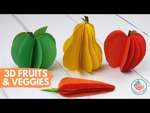 3D Paper Fruit & Vegetables Craft Ideas!
