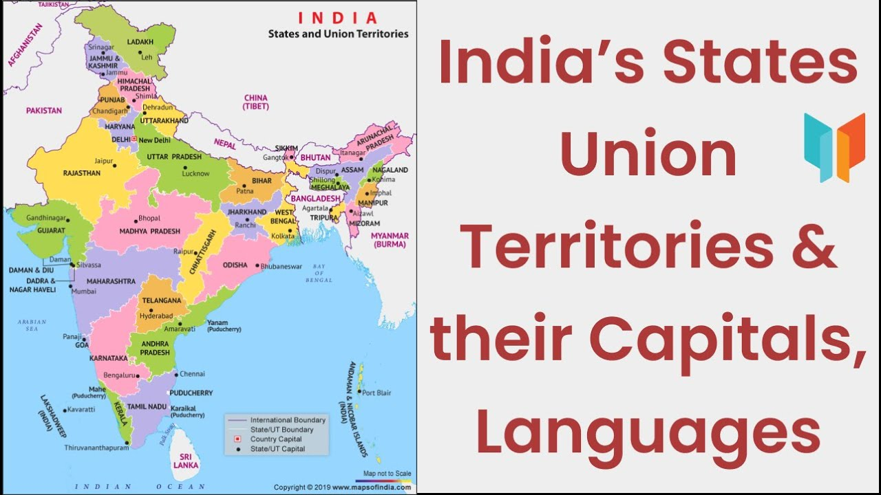 political map of india with states capitals and union territories India S States Union Territories Their Capitals Languages political map of india with states capitals and union territories