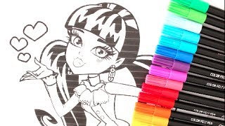 MONSTER HIGH DRACULAURA COLORING WITH CRAYOLA MARKERS  MH SHARPIES