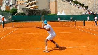 Rafael Nadal Practice Match Court Level View vs David Ferrer - Monte Carlo Clay ATP Tennis Training