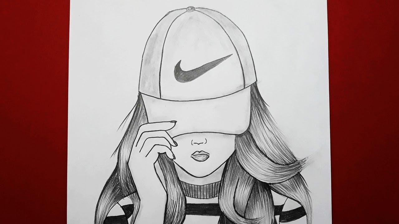 Nike Sapkali Kiz Nasil Cizilir How To Draw A Girl With Cap For