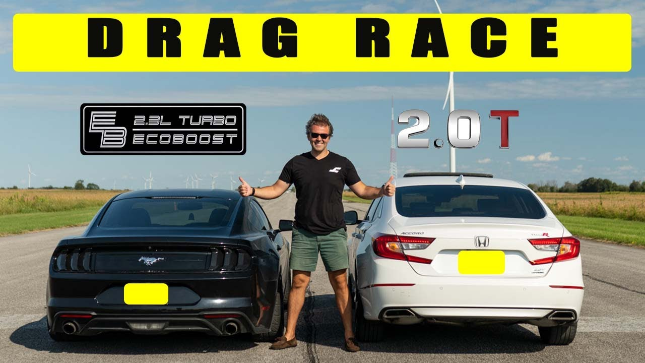 Download Honda Accord 2.0t challenges Ford Mustang Ecoboost 2.3l, things get interesting. Drag and roll race.
