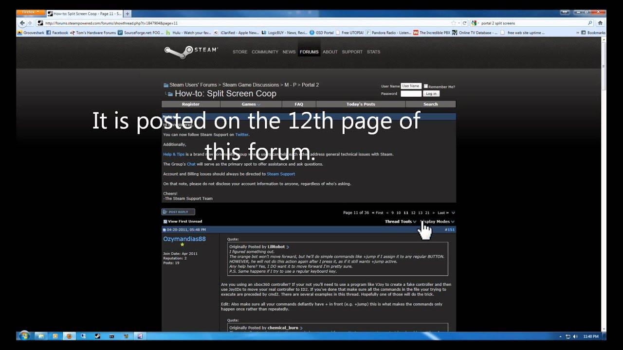 Set up Portal 2 Co-op split screen on PC
