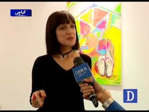 Young artist showed their piece of art during exhibition in Karachi