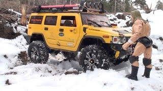 RC TRUCKS OFF Road - Hummer H2 vs Jeep Wrangler Rubicon vs Toyota Hilux vs Land Rover Defender 90