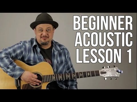 Beginner Acoustic Lesson 1 - Your Very First Guitar Lesson - Eminor and A sus2