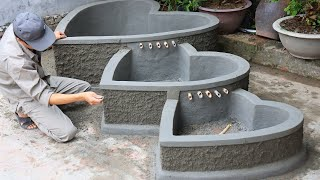 Building 3 in 1 Heart Aquarium with Cement and Brick - DIY Gaden Decoration