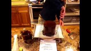 How to pour chocolate cake glaze and add side sprinkles by Pretty Sugar Cake Design