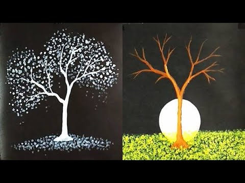 3 Easy Acrylic Painting On Black Canvas Step By Step Daily Challenge 26 Youtube