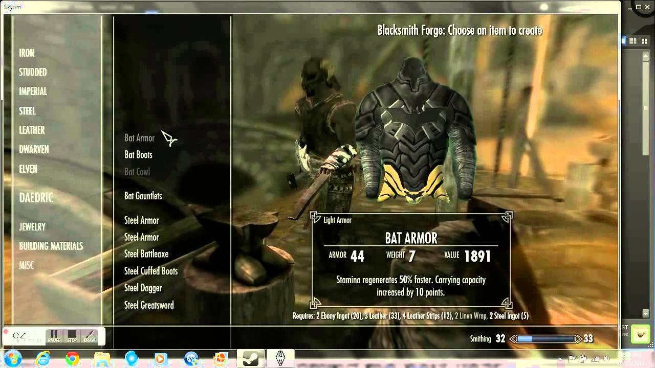 Skryim How to getmake batman armor how to get linen wrap  YouTube