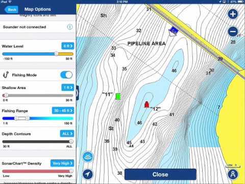 Navionics Boating App Targeting Specific Depth Ranges