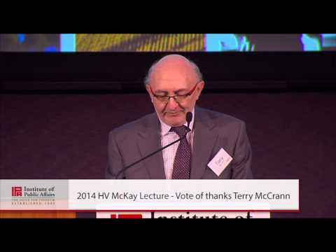 Terry McCrann gives the vote of thanks for the 2014 HV McKay Lecture