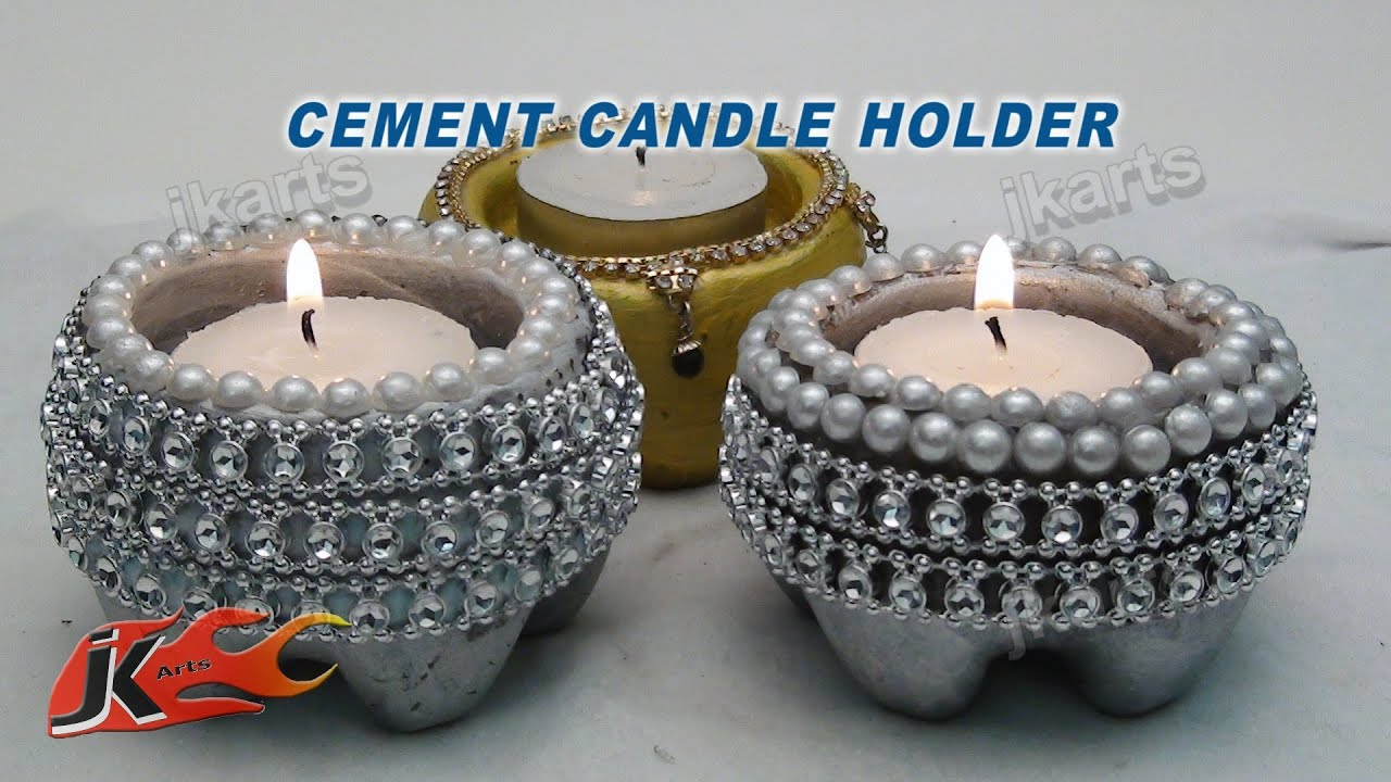 Cement candle holder diy how to make jk arts 101 youtube for Candle decoration with waste material