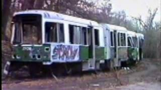 Junked LRVs at Riverside in 1987