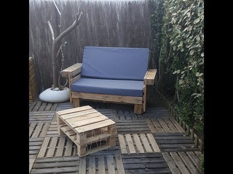 fabriquer un salon de jardin en bois avec palettes tutoriel bricolage facile youtube. Black Bedroom Furniture Sets. Home Design Ideas