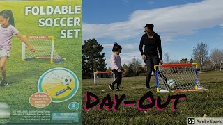 """Shanaya plays with """"Play Day"""" Foldable Soccer Set 