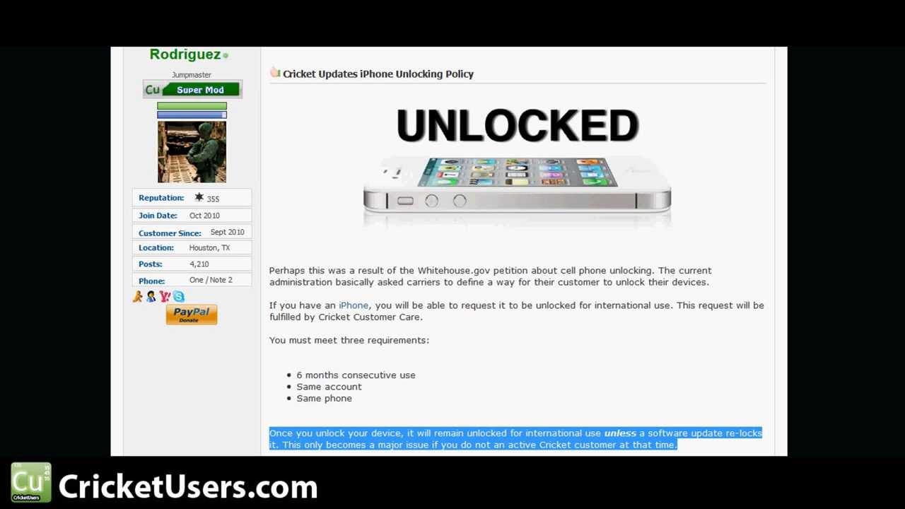 Cricket wireless customer service - Cricket Wireless Iphone Unlocking Info For International Use And Warning
