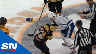Zach Hyman Lays A Questionable Hit On Charlie McAvoy and Matt Grzelcyk Takes Exception