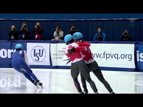 Charles Hamelin/ Men`s 1000m (2) Final + interview - World Cup Short Track Speed Skating Montreal