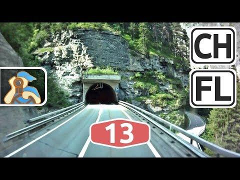 Schweiz, Liechtenstein. A13. San Bernardinotunnel - Vaduz