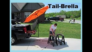 The TAIL-BRELLA, 9 foot Umbrella that fits your truck hitch