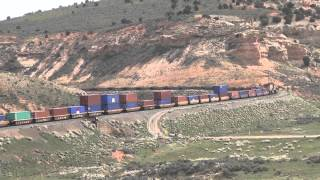 WBD Union Pacific Railroad Z train descends curve @ Castle Rock, UT 5/5/2014