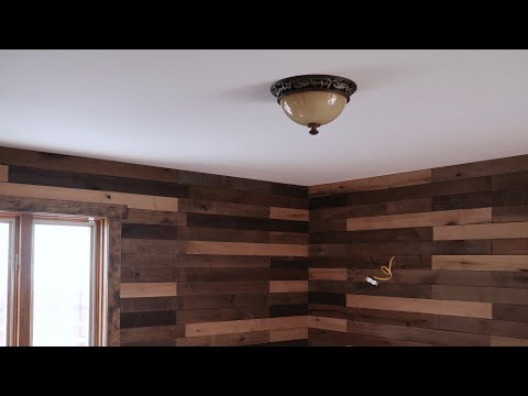 How to install a rustic wood plank accent wall for beginners - The Family Room Remodel Part 17