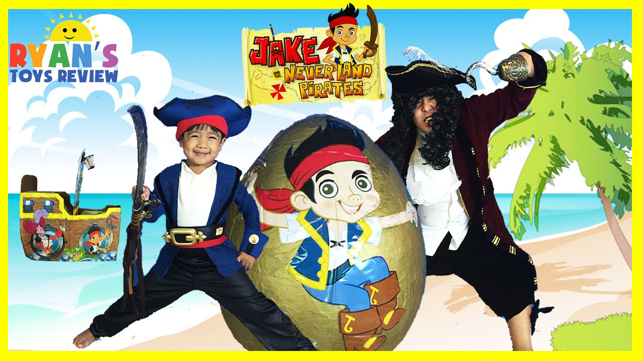 giant egg surprise opening disney toys jake and the neverland