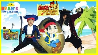 GIANT EGG SURPRISE OPENING Disney Toys Jake and the Neverland Pirates Kinder Egg Kids Video