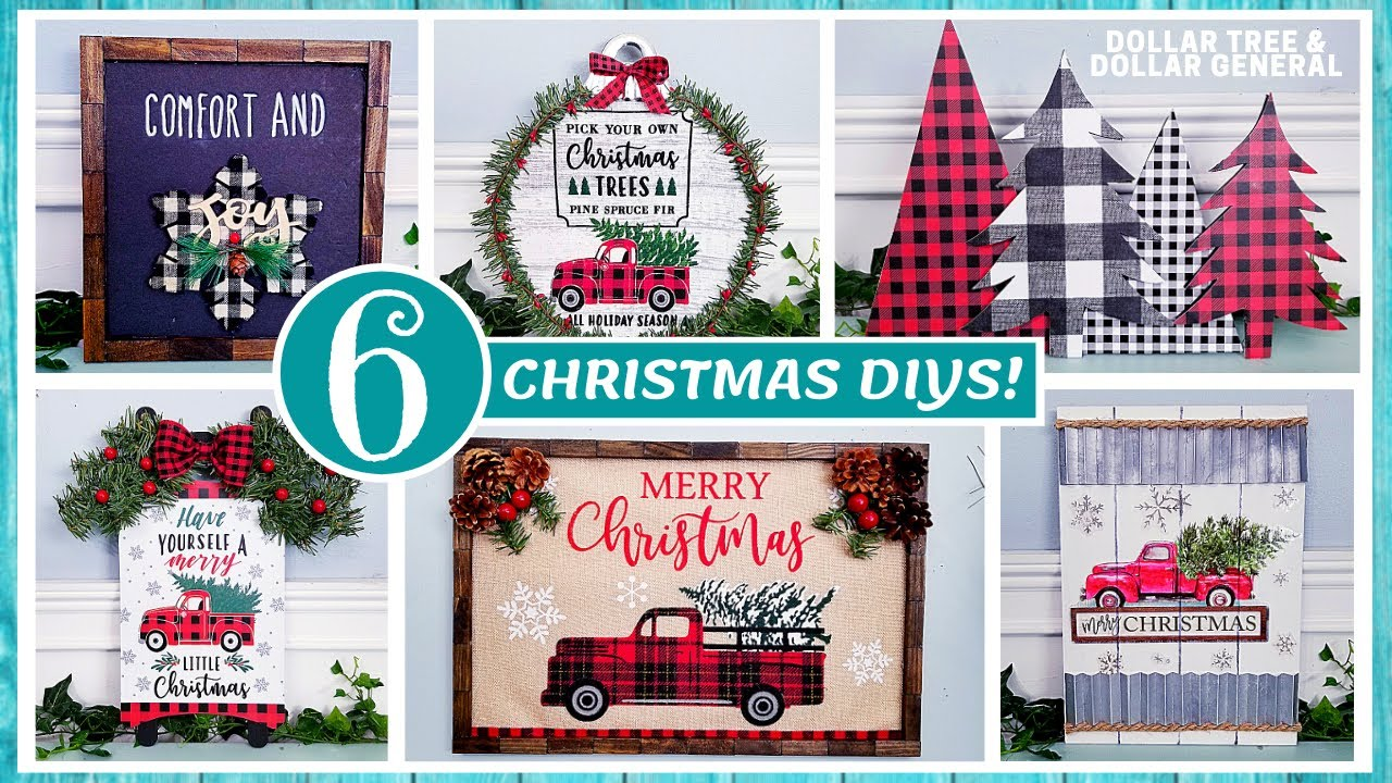 DOLLAR TREE CHRISTMAS DIY | 6 NEW Home Decor Crafts | DOLLAR GENERAL DIY | Red Truck & Buffalo Check