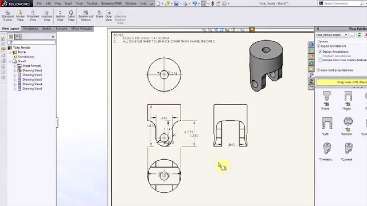 Solidworks making quick drawings youtube for Solidworks drawing template tutorial
