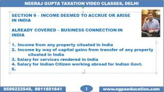 V 19 Income Tax Quick Revision Video Number 19 (Neeraj Gupta Taxation Video Classes)(www.ngpaeducation.com Video Number 19 INCOME DEEMED TO ACCRUE OR ARISE IN INDIA - SECTION 9 - PART 2 (Chapter –Residential Status). Created ..., 2016-12-10T11:33:15.000Z)