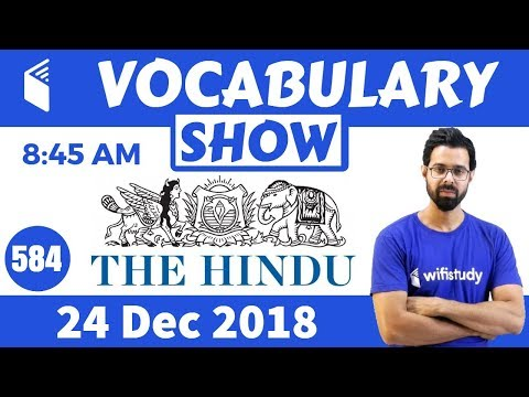8:45 AM -  Daily The Hindu Vocabulary with Tricks (24 Dec, 2018) | Day #583
