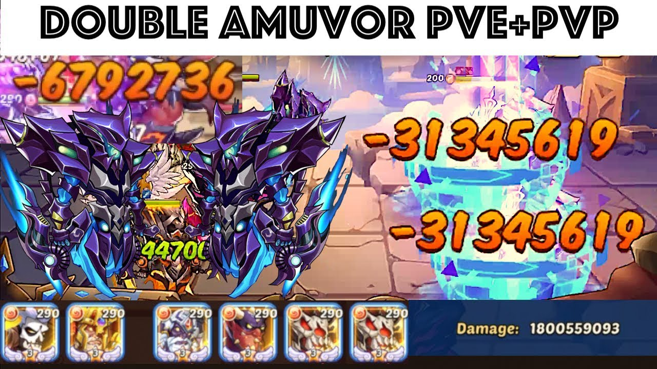 Idle Heroes Amuvor x2 [PVE & PVP] & Sparring Full Abyss Team