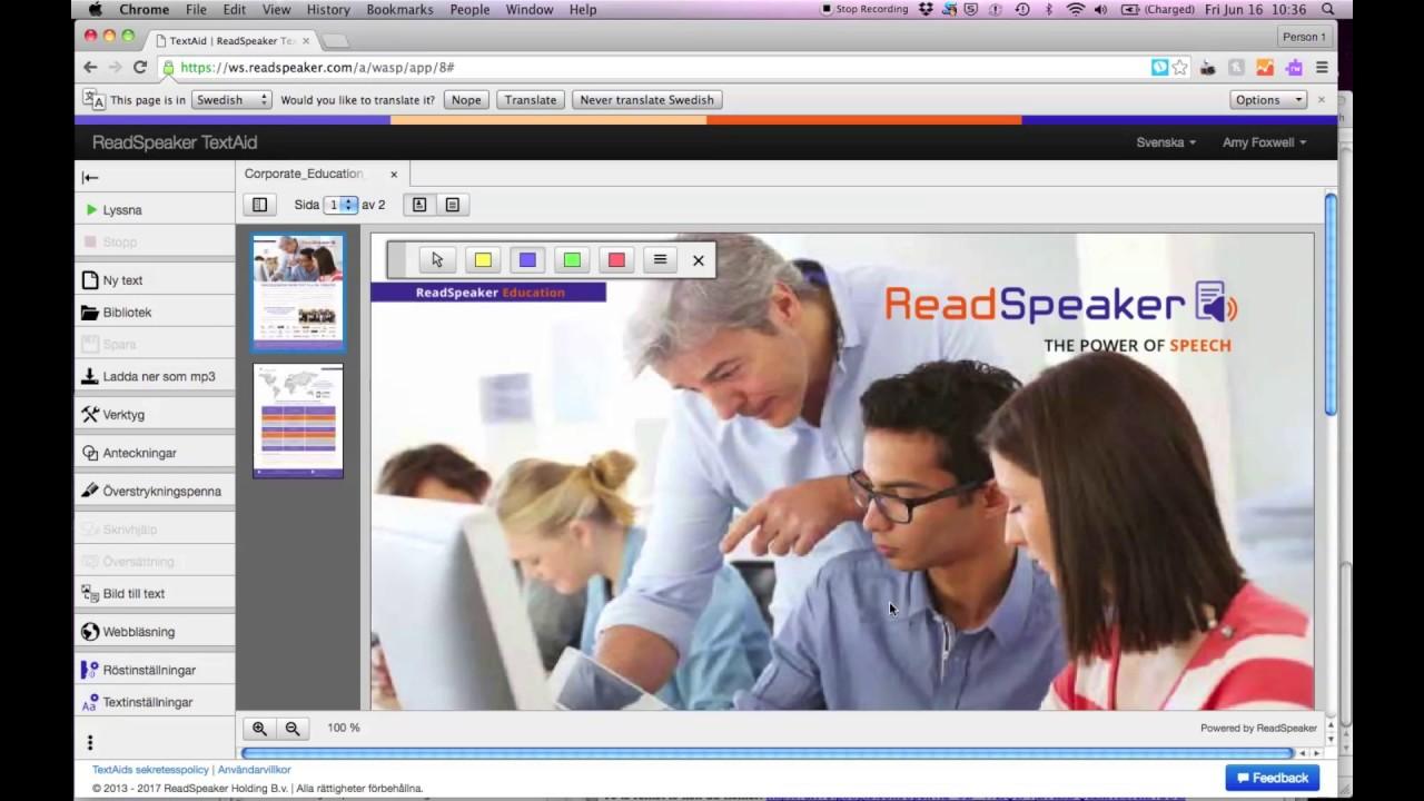 ReadSpeaker TextAid: Överstrykningspenna