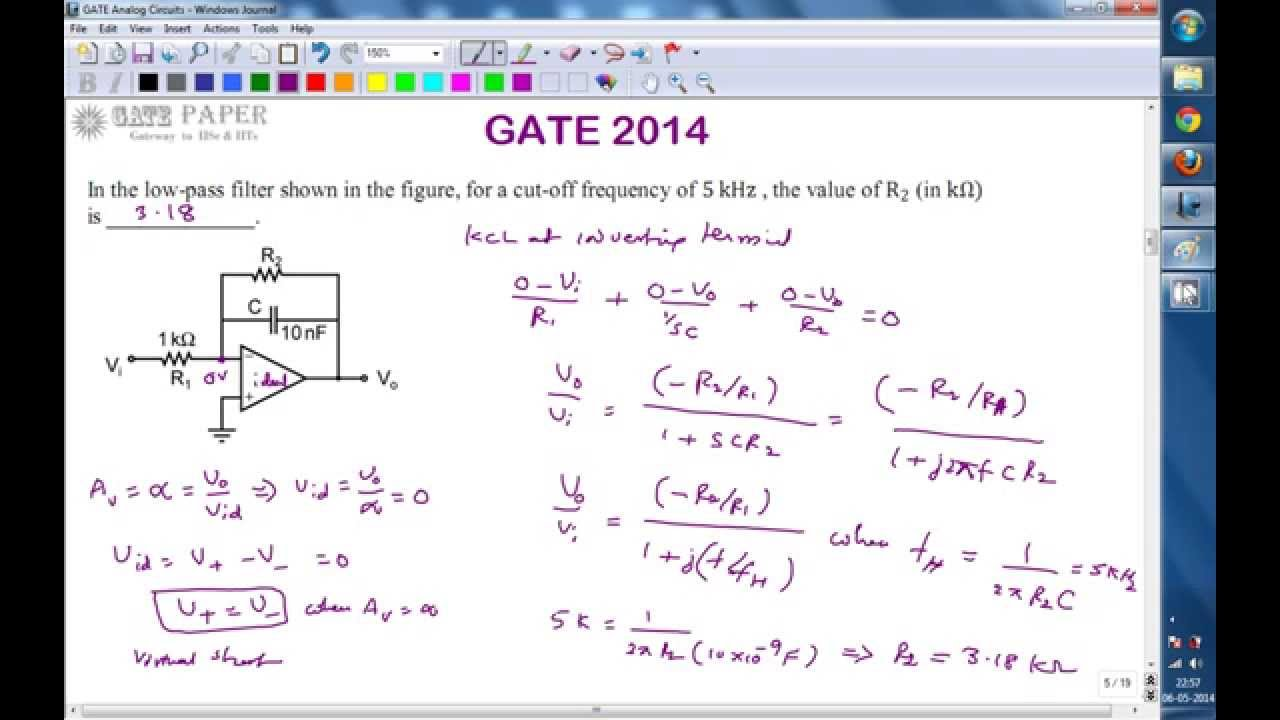 Gate 2014 Ece Op Amp Low Pass Filter With Cutoff Frequency Of 5 Khz Integrator Circuit Using 741 Electronics