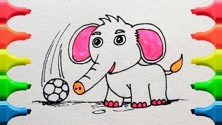 How To Draw And Coloring An Elephant For Kids
