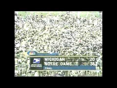1998 and 2002 Notre Dame Fighting Irish Highlights vs Michigan