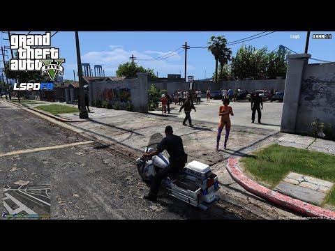 GTA 5 - LSPDFR Day 10 - Grove Street Massacre Motorcycle Patrol