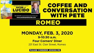 Sen. Lucido to host Coffee Hours on February 3