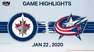 winnipeg Jets vs Columbus Blue Jackets  Jan.22, 2020  Game Highlights  NHL 2019/20  Обзор матча